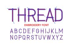 Embroidery font. Thread,vector illustration Stock Photography