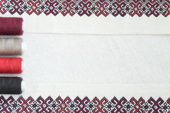 Embroidery fragment. Yarn, fabric. Fragment of embroidery on linen and accessories Stock Photography