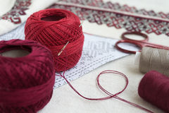 Embroidery fragment. Yarn, fabric. Fragment of embroidery on linen and accessories Stock Image