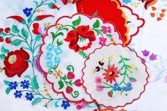 embroidery Fundo da foto do estúdio do teste padrão da textura do close up do bordado do handwork dos retalhos fotos de stock