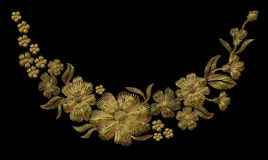 Embroidery gold floral pattern with dog roses and forget me not flowers. Vector traditional folk fashion ornament on black background Royalty Free Stock Photos