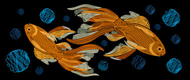 Embroidery with golden fish on a black background. Horizontal Ve. Ctor illustration or picture. Embroidered goldfish Stock Photography