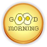 Embroidery, Good  Morning, Fried Eggs Cross Stitch. Fun cross stitch needlework design, Good Morning with two fried eggs on retro wood embroidery sewing hoop Stock Photo