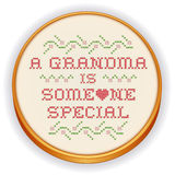 Embroidery, Grandma Cross Stitch on Wood Hoop Stock Images