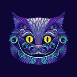 Embroidery with the head of the Cheshire cat from the fairy tale Stock Photo