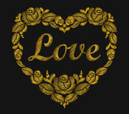 Embroidery heart of gold roses leaf bright word love Valentine s Day Royalty Free Stock Images