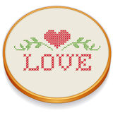 Embroidery, Heart and Love in Cross Stitch. Old fashioned wood embroidery hoop with cross stitch needlework sewing design, heart, love, vines. For Mothers Day Royalty Free Stock Photos