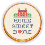 Embroidery, Home Sweet Home Cross Stitch. Embroidery, Home Sweet Home with a big red heart, decorative cross stitch needlework sewing design on fabric in retro Vector Illustration