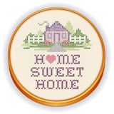 Embroidery Home Sweet Home Cross Stitch, Wood Hoop. Retro wood embroidery hoop with cross stitch design, Home Sweet Home in pastel colors, needlework heart Vector Illustration
