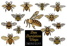 Embroidery Honey bee bumblebees wasps set sketch style collectio Royalty Free Stock Image