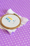 The embroidery hoop with canvas print, the needle, child to learn to embroider Royalty Free Stock Image