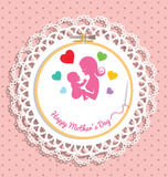 Embroidery hoop with Needlework for mothers day Royalty Free Stock Photo