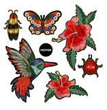 Embroidery hummingbird, hibiscus flowers, butterfly and ladybug. Vector illustration with colibri bird and flowers royalty free illustration
