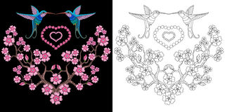 Embroidery hummingbird and sakura design Stock Photos