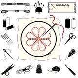 embroidery icons needlework Στοκ Φωτογραφίες