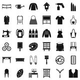 Embroidery icons set, simple style. Embroidery icons set. Simple set of 36 embroidery vector icons for web isolated on white background Royalty Free Stock Images