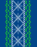 Embroidery illustration on blue Royalty Free Stock Images