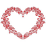 Embroidery inspired  love heart shape pattern in red with floral elements   on white  background with black stroke Royalty Free Stock Photography