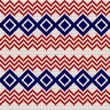 Embroidery or knit russian and ukrainian national seamless pattern. Embroidery or knit russian and ukrainian national seamless pattern, red blue and white color Stock Photo