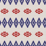 Embroidery or knit russian and ukrainian national seamless pattern. Embroidery or knit russian and ukrainian national seamless pattern, red blue and white color Stock Photos