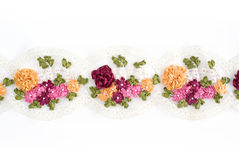 Embroidery on lace fabric. Stock Photography