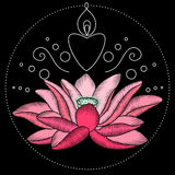 Embroidery lotus fabric design. Embroidery lotus flower artwork for clothing, patches and stickers. Pink water lily. Decorative fancywork elements and fabric Royalty Free Stock Photos