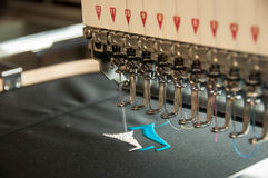 Embroidery machine stiching stock images