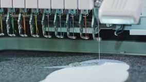 Embroidery Machine Work stock video footage