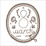 Embroidery with 8 of march date. Stock Photo