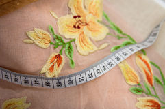 Embroidery and Measuring tape Royalty Free Stock Photo