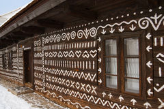 Embroidery motif cottage in cicmany. Detail of embroidery motif cottage in cicmany, slovakia Stock Photo