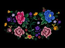 Embroidery motif pattern with simplify flowers. Vector embroidered floral patch for clothing design Stock Images