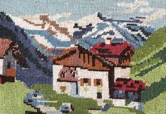Embroidery mountain landscape. Royalty Free Stock Images