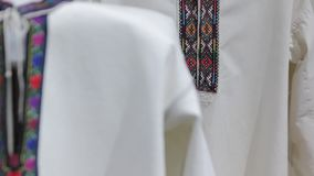 The embroidery national shirt. The Ukraine national embroidered clothes shirt stock video footage