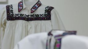 The embroidery national shirts. The Ukraine national embroidered clothes shirt stock footage