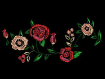 Embroidery native floral landscape pattern with simplified roses. And forget me not flowers. Vector traditional folk ornament on black background for fashion vector illustration