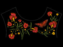 Embroidery native neckline pattern with poppies and butterfly. Stock Photos