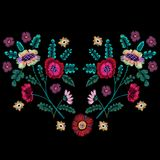 Embroidery native pattern with ethnic flowers. Vector embroidered traditional floral design for fashion fabric royalty free illustration