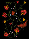 Embroidery native pattern with poppies and butterfly. Royalty Free Stock Photos