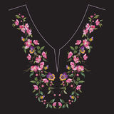 Embroidery neck line floral pattern with oriental cherry blossom. Vector embroidered flowers for clothing design stock illustration
