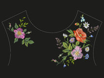 Embroidery neck line floral pattern with roses, chamomiles and c Royalty Free Stock Image