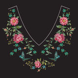Embroidery neck line floral pattern with roses. Vector embroidered flowers for clothing design royalty free illustration