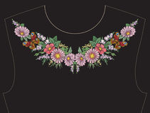 Embroidery for neckline, collar for T-shirt, blouse, shirt.. Embroidery for neckline, collar for T-shirt, blouse, shirt. Pattern of flowers and butterflies Royalty Free Stock Photos