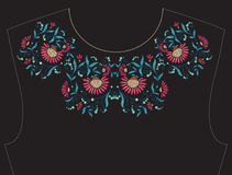 Embroidery for neckline, collar for T-shirt, blouse, shirt.  Royalty Free Stock Image