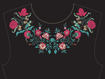 Embroidery for neckline, collar for T-shirt, blouse, shirt.  Stock Photography
