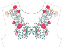 Embroidery for neckline, collar for T-shirt, blouse, shirt.. Embroidery for neckline, collar for T-shirt, blouse, shirt. Pattern of flowers. Stock vector Royalty Free Stock Photos