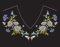 Embroidery neckline floral pattern with chamomiles, cornflowers and butterfly. Vector embroidered folk flowers bouquet on black background for clothing design royalty free illustration