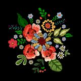 Embroidery neckline floral pattern with ethnic flowers. royalty free illustration