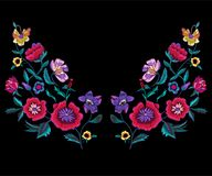 Embroidery neckline pattern with poppies and meadow flowers. Vector embroidered floral patch for clothing design stock illustration