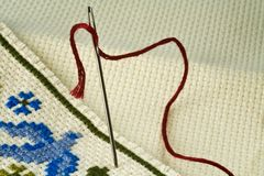 Embroidery with needle Royalty Free Stock Photos